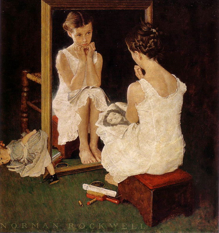 Girl at Mirror Norman Rockwell