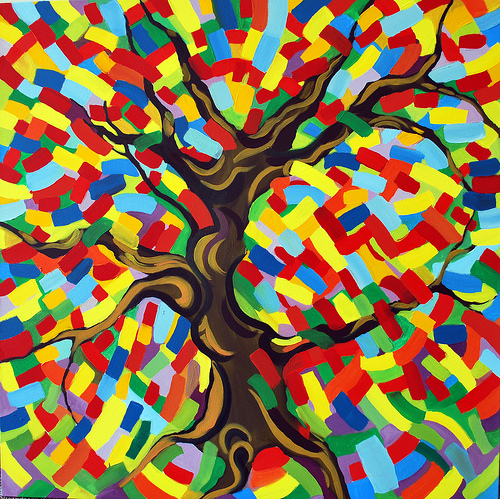 "The Painted Tree (2010), Oil on canvas 40"" x 40"""