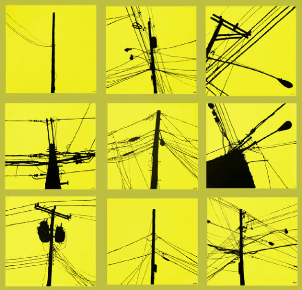 power lines 1-9 - 2003 - acrylic on canvas - 12x12 each