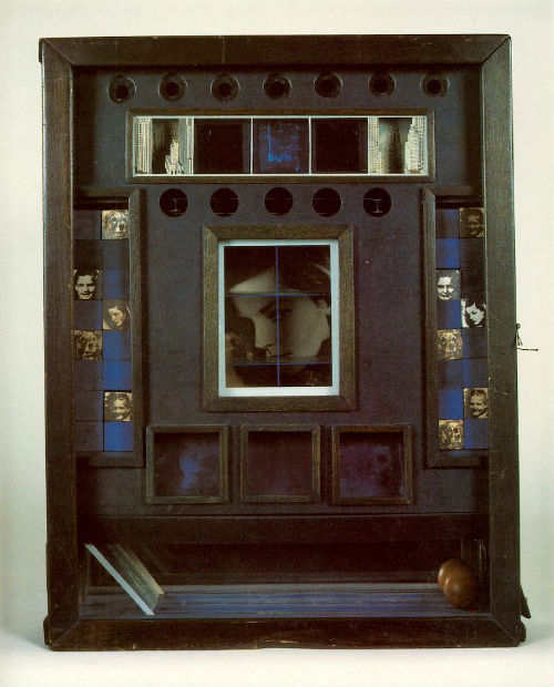 Joseph Cornell, Untitled (Penny Arcade Portrait of Lauren Bacall)  (1945-46) Construction, 20 1/2 x 16 x 3 1/2 in
