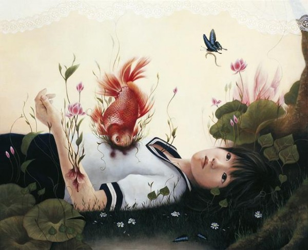 Ai Shinohara, fish in lap, butterfly