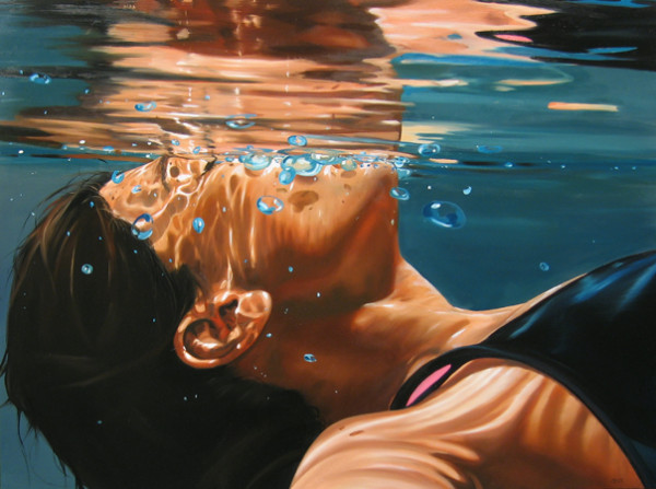 Eric Zener, Adrift (face at surface of water, bubbles)