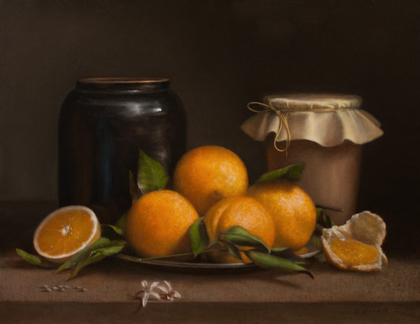 Jonathan Koch, Oranges and Ceramic Jars, oil on linen, 14 x 16 inches, 2013