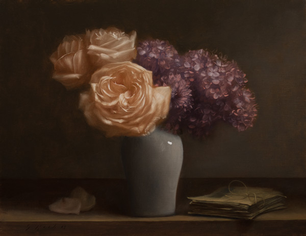 Jonathan Koch, Roses, Lilacs, Letters, oil on linen, 14 x 18 inches, 2013