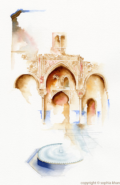 No4_Courtyard_of_the_Mexuar_Alhambra_Granada_II_watercolor_copyright_sophia_khan