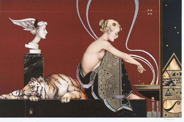 Michael Parkes, bust and tiger on red